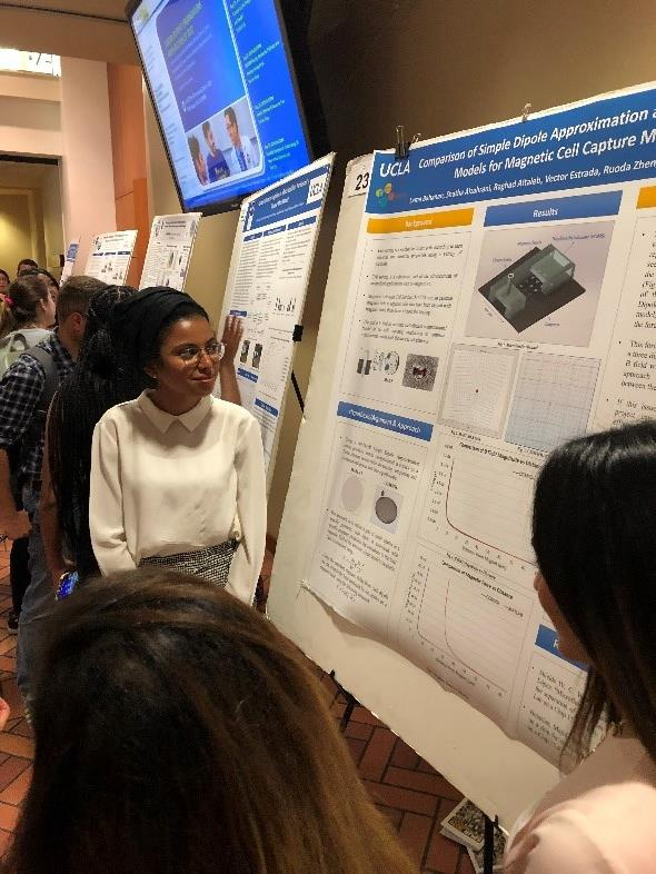 Lama Bahanan, a sophomore at Georgia Institute of Technology, presents her research poster