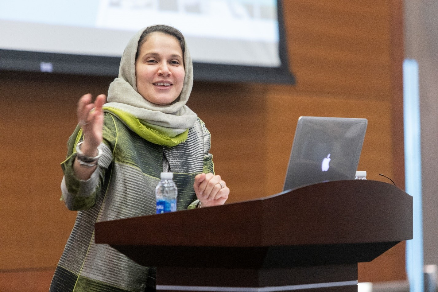 Dr. Najah Ashry issues an inspiring charge to new KGSP students.